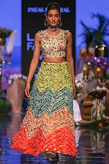 Multi Colored Embroidered Blouse With Tasseled Lehenga Skirt by Payal Singhal