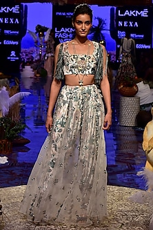 White Embroidered & Printed Blouse With Pants & Attached Skirt by Payal Singhal