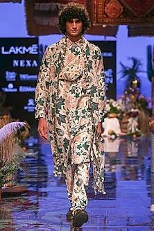 White Printed Kurta Set by Payal Singhal Men