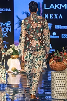 White Printed Kurta Set With Brown Bundi Jacket by Payal Singhal Men