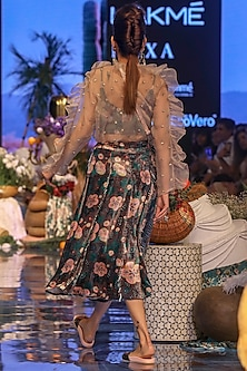Brown Embroidered Sheer Top With Printed Bustier & Skirt by Payal Singhal