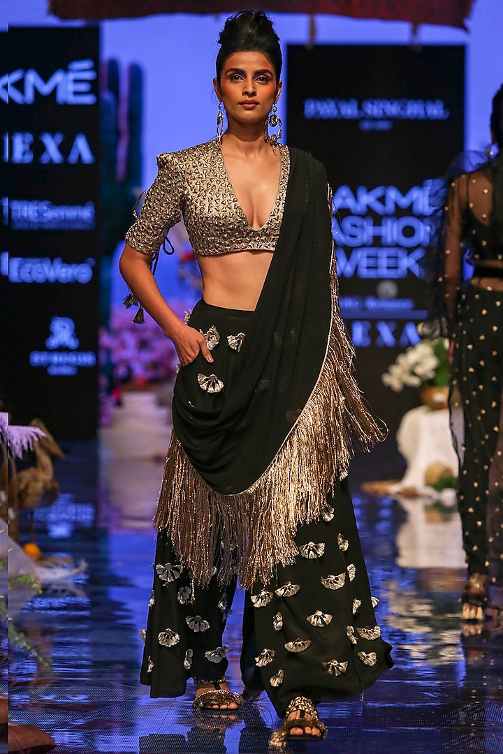 Black Embroidered Blouse With Palazzo Pants & Attached Drape by Payal Singhal