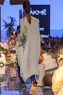 Periwinkle Blue Embroidered Jacket With Cobalt Blue Top & Pants by Payal Singhal