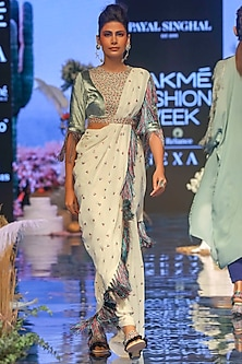 Periwinkle Blue & Chalk White Embroidered Saree Set by Payal Singhal
