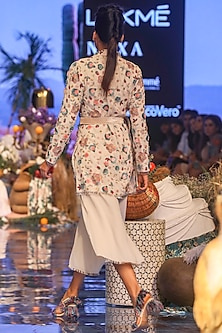 Chalk White Embroidered Jacket With Bustier & Pants by Payal Singhal