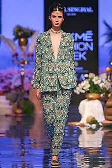 Blue Printed & Embroidered Jacket With Pants by Payal Singhal