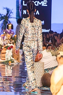White Printed & Embroidered Bomber Jacket With Pants by Payal Singhal