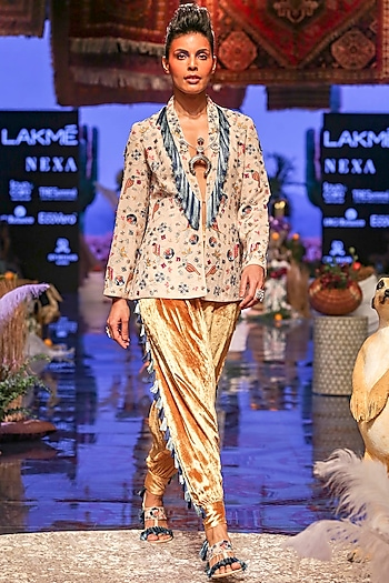 Multi Colored Embroidered Jacket With Mustard Yellow Pants by Payal Singhal