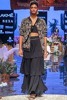 Black Embroidered Jacket With Lehenga Skirt by Payal Singhal