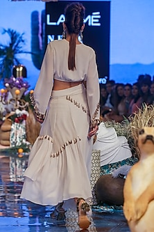 Chalk White Embroidered Top With Asymmetric Skirt by Payal Singhal