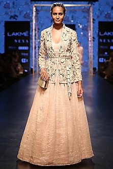 Blush Pink Embroidered Jacket Lehenga Set by Payal Singhal