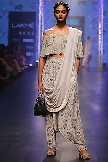 Olive Green & Blue Embroidered Pant Set by Payal Singhal