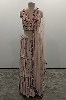 Rose Pink Embroidered Sharara Set by Payal Singhal
