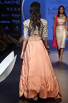 Stone Embroidered Blouse With Peach Lehenga by Payal Singhal