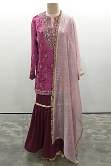 Cranberry Embroidered Sharara Set by Payal Singhal