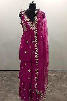 Hot Pink Embroidered Sharara Set by Payal Singhal