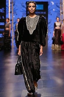 Black Embroidered Top With Palazzo Pants by Payal Singhal