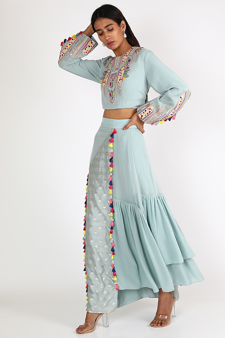 Pale Blue Embroidered Skirt Set by Payal Singhal