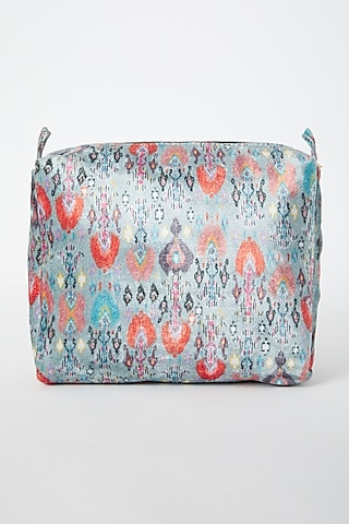 Blue Printed Velvet Pouch by Payal Singhal