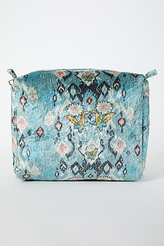 Blue Ikat Printed Velvet Pouch by Payal Singhal
