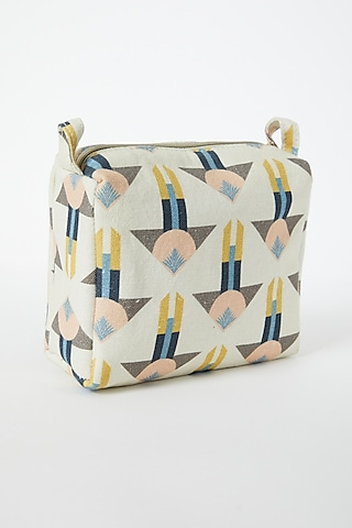 Beige Printed Canvas Pouch by Payal Singhal