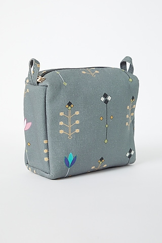 Grey Printed Canvas Pouch by Payal Singhal