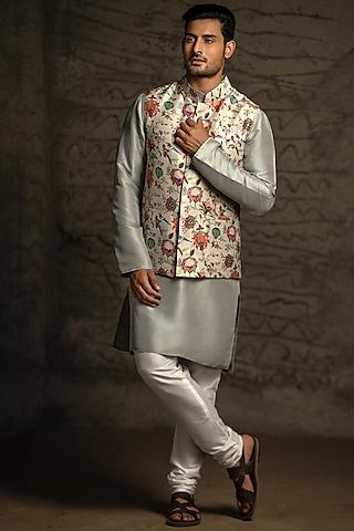 Off White & Powder Blue Printed Kurta Set With Bundi Jacket by Payal Singhal Men