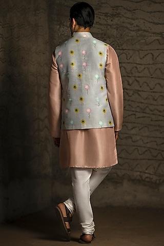 Grey & Blush Pink Printed Kurta Set With Bundi Jacket  by Payal Singhal Men