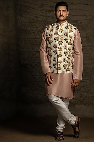 Cream & Blush Pink Printed Kurta Set With Bundi Jacket by Payal Singhal Men