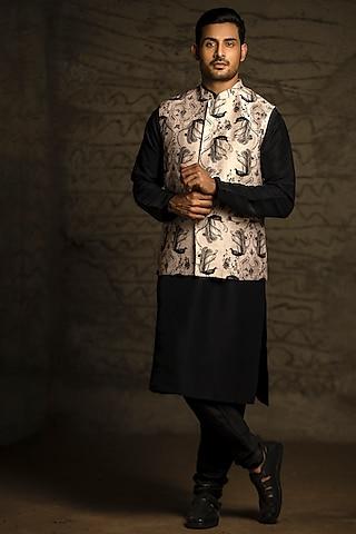 Blush Pink & Black Printed Kurta Set With Bundi Jacket by Payal Singhal Men