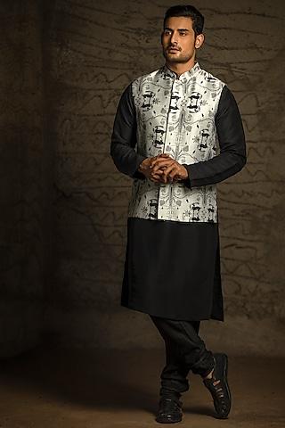 Grey & Black Printed Kurta Set With Bundi Jacket by Payal Singhal Men