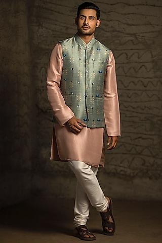 Green & Blush Pink Printed Kurta Set With Bundi Jacket by Payal Singhal Men
