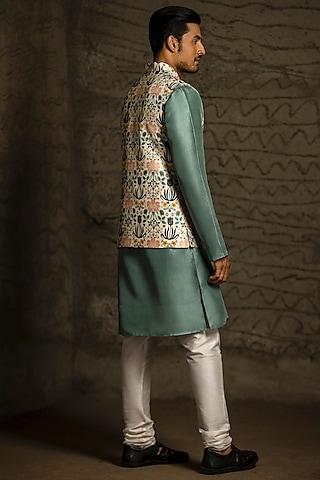 Teal Blue & Off White Printed Kurta Set With Jacket by Payal Singhal Men