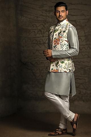 Ivory & Grey Printed Kurta Set With Bundi Jacket by Payal Singhal Men