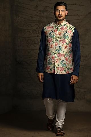 Navy Blue & Off White Printed Kurta Set With Bundi Jacket by Payal Singhal Men