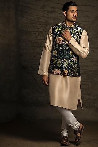 Black & Cream Printed Kurta Set With Bundi Jacket by Payal Singhal Men