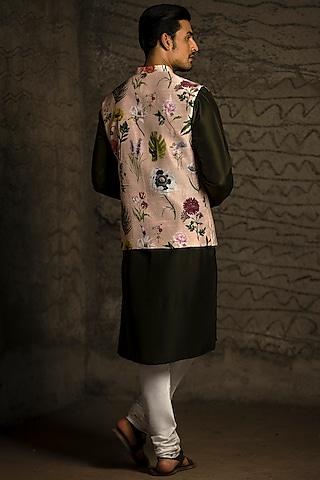 Blush Pink & Forest Green Printed Kurta Set With Bundi Jacket by Payal Singhal Men