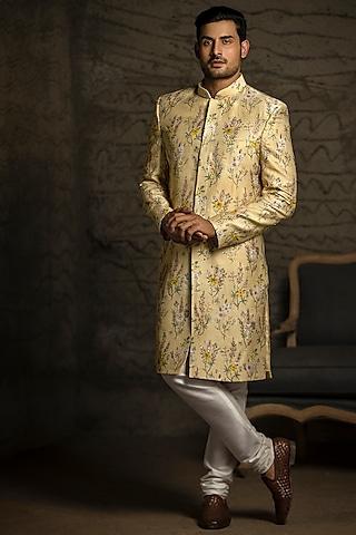 Yellow & Off White Embroidered Sherwani Set by Payal Singhal Men