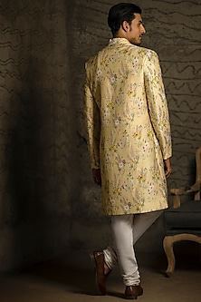 Yellow & Off White Embroidered Sherwani Set by Payal Singhal Men