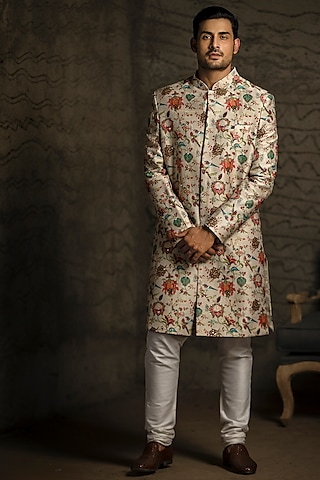 Khaki & Off White Embroidered Sherwani Set by Payal Singhal Men