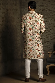 Khaki & Off White Embroidered Sherwani Set by Payal Singhal Men