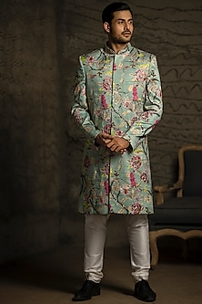 Aqua Blue & Off White Embroidered Sherwani Set by Payal Singhal Men