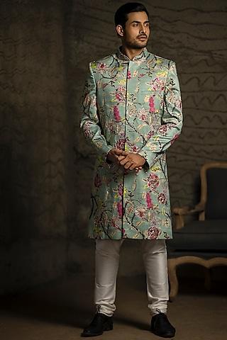 Aqua Blue & Off White Embroidered Sherwani Set by Payal Singhal Men