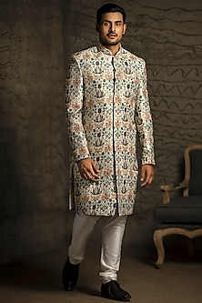 Cream & Off White Embroidered Sherwani Set by Payal Singhal Men