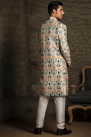 Cream & Off White Embroidered Sherwani Set by Payal Singhal Men