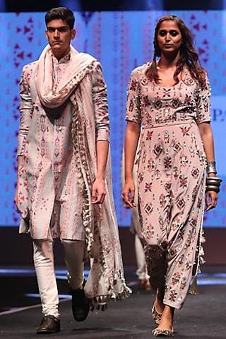 Grey & Off White Embroidered Sherwani Set by Payal Singhal Men