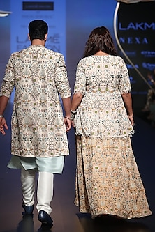 Sky Blue & Off White Embroidered Sherwani Set by Payal Singhal Men