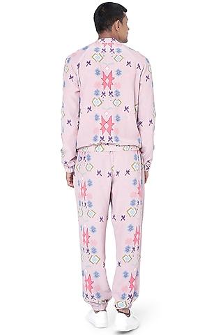 Pink Printed Bomber Jacket Set by Payal Singhal Men