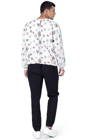Black Denim Pant Set With Printed T-Shirt by Payal Singhal Men