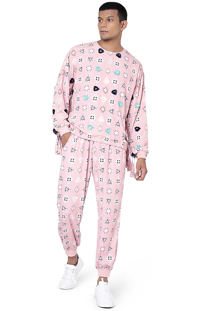 Pink Printed Pant Set by Payal Singhal Men
